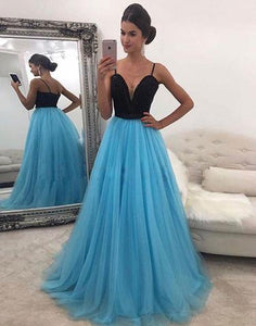 spaghetti straps tulle black top and blue skirt long 2017 prom dress, PD45697