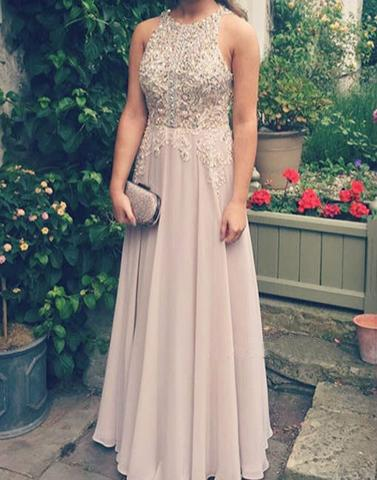 formal dusty pink lace appliques beaded chiffon long prom dress, PD00179
