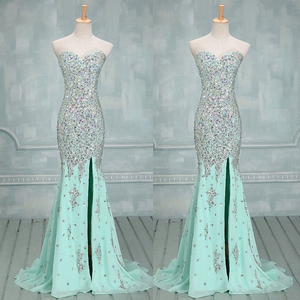 mint prom dress,long prom dress,beaded prom dress,mermaid prom dress,prom dress with slits, BD535