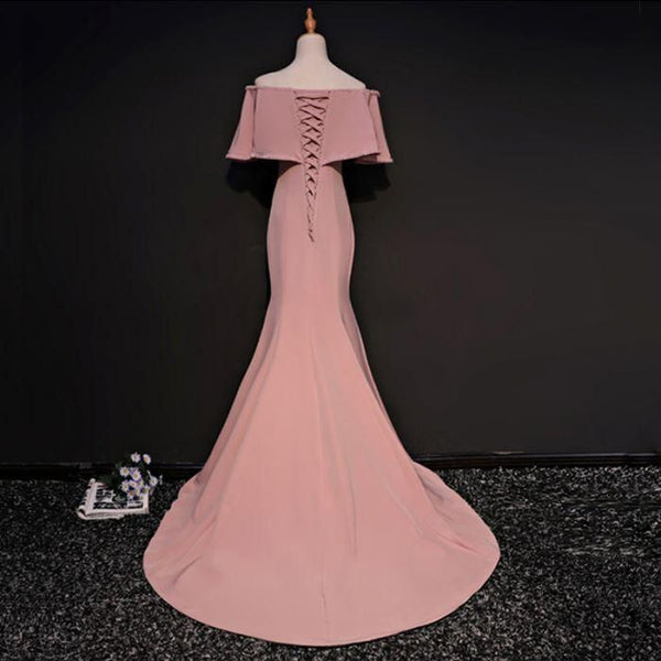 pink off the shoulder prom dress mermaid satin evening dress floor length ,HS050