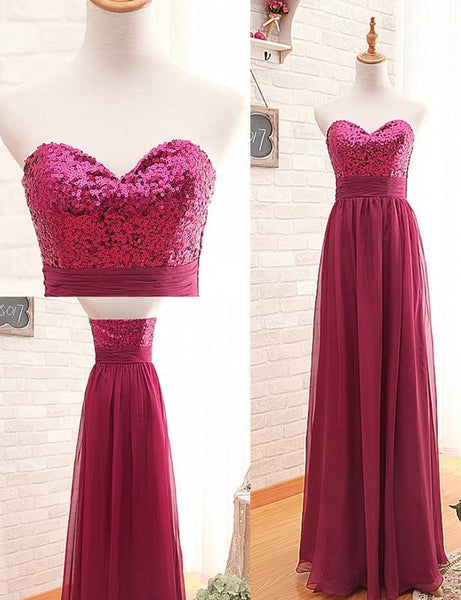 Fashion Bridesmaid Dress,Sweetheart Bridesmaid Dress,Sequin Bridesmaid Dress,Red Bridesmaid Dress,A-line Sexy Bridesmaid Dress, PD50