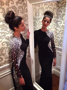 black prom dress, long prom dress, long sleeves prom dress, unique evening dress, BD521