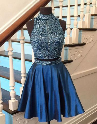 blue homecoming dress, short homecoming dress, beaded prom dress, two pieces homecoming dress, 2017 homecoming dress, BD39755
