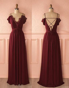 off shoulder cheap chiffon long prom dress, PD9977