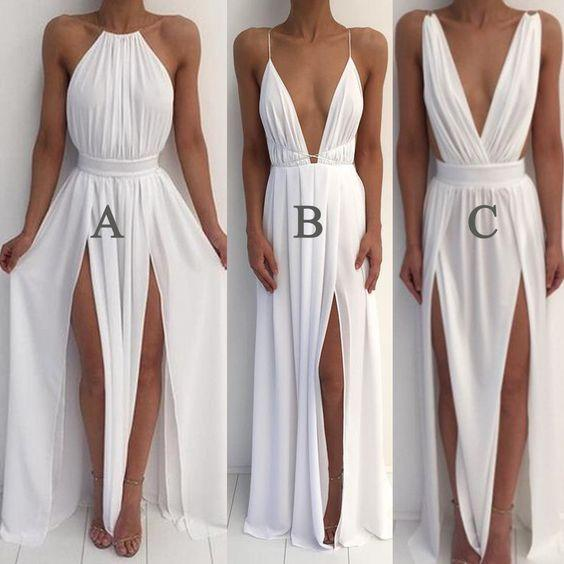 white prom dress, long prom Dress, chiffon prom dress, mismatched prom dress, cheap prom dress, BD463