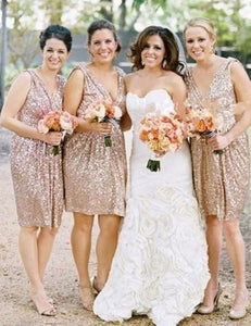 Fashion Bridesmaid Dress,Modern Bridesmaid Dress,Sequin Bridesmaid Dress,V-neck Bridesmaid Dress,Short Bridesmaid Dress, PD63