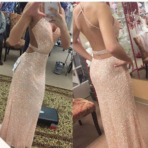 sexy pink sequin sparkle long backless prom dress, PD5673