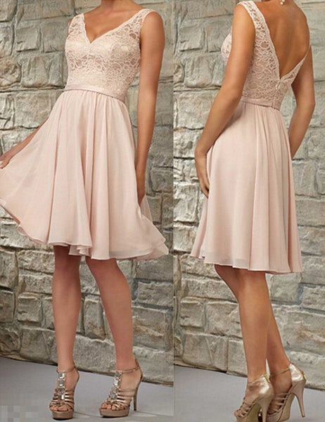 Classical Bridesmaid Dress, V-neck Bridesmaid Dress, Sash Bridesmaid Dress, Chiffon Bridesmaid Dress, Unqiue Bridesmaid Dress, PD06