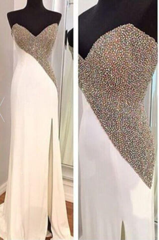 white prom dress, long prom dress, beading prom dress, 2017 prom dress, side slit evening dress, BD384