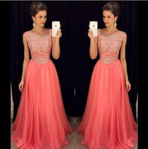 coral prom dress, long prom dress, charming prom dress, beaded prom dress, 2017 prom dress, BD509