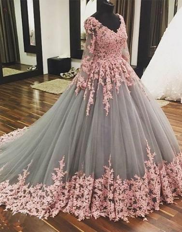 lace appliques A-line grey tulle long sleeves v-neck long prom dress, PD4597