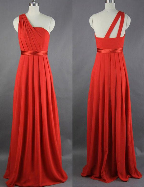 Elegant bridesmaid dress,Classic bridesmaid dress,One-shoulder bridesmaid dress ,Floor-length Bridesmaid dress ,PD86