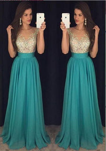 turquoise prom dress, long prom dress, beaded prom dress, charming evening dress, 2017 prom dress, BD382