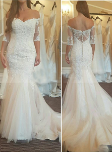 c6e12673813 2017 mid-sleeves elegant off shoulder mermaid ivory lace wedding dress