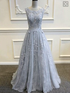 lace prom dress, grey blue prom Dress, A-line prom dress, long prom dress, 2017 prom dress, BD394