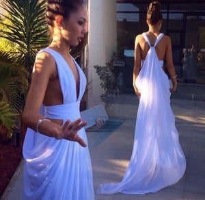 chiffon prom dress, long prom dress, sexy prom dress, white prom dress, formal evening gown, BD39