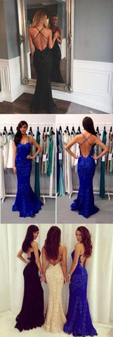Sexy Lace Long Prom Dresses Backless Evening Formal Dresses,HS840