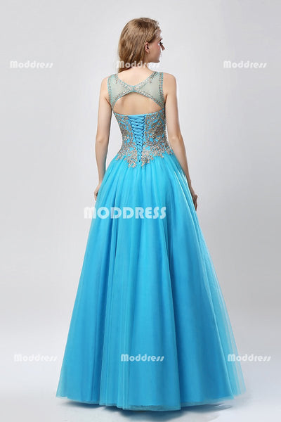 Applique Beaded Long Prom Dresses A-Line Evening Dresses Sleeveless Formal Dresses