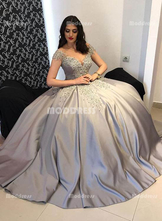 Applique Beaded Long Prom Dresses Grey Satin Evening Formal Dresses,HS796