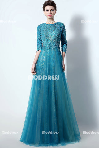 Applique Beaded Long Prom Dresses Lace Quater Sleeve Evening Dresses A-Line Formal Dresses