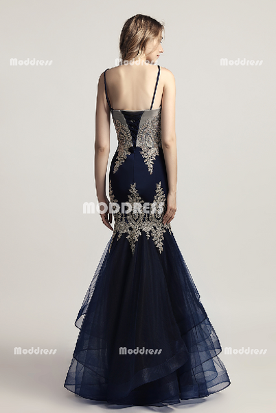 Applique Beaded Long Prom Dresses Mermaid Evening Dresses Sleeveless Formal Dresses