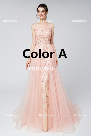 Applique Beaded Long Prom Dresses Mermaid Evening Dresses Tulle A-Line Formal Dresses