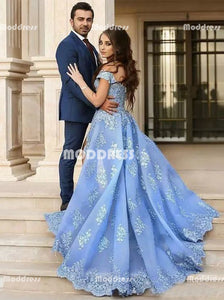 Applique Beaded Long Prom Dresses Off the Shoulder Evening Dresses Blue Formal Dresses