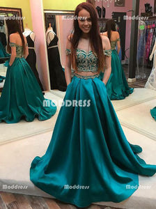 Applique Beaded Long Prom Dresses Off the Shoulder Evening Dresses Satin A-Line Formal Dresses