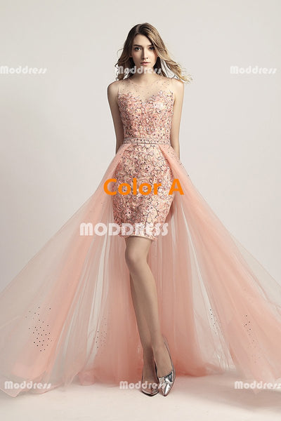 Applique Beaded Long Prom Dresses Short Homecoming Dresses Tulle Train Formal Dresses