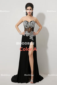 Applique Beaded Long Prom Dresses Strapless Evening Dresses Mermaid Formal Dresses with High Slit
