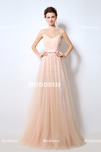 Applique Beaded Long Prom Dresses Tulle Evening Dresses A-Line Formal Dresses,,.