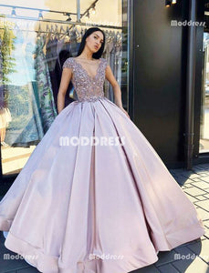 ff6dee6c644 Applique Beaded Long Prom Dresses V-Neck Evening Dresses Satin Ball Gowns  Formal Dresses