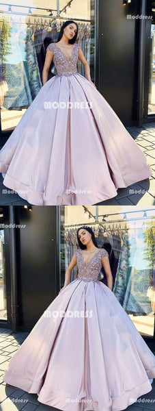 Applique Beaded Long Prom Dresses V-Neck Evening Dresses Satin Ball Gowns Formal Dresses