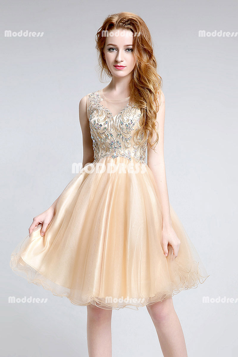 Applique Beaded Short Homecoming Dresses A-Line Evening Formal Dresses
