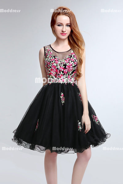 Applique Beaded Short Homecoming Dresses Black Tulle Short Homecoming Dresses Sleeveless Short Prom Dresses