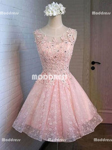 Applique Beaded Short Homecoming Dresses Pink Lace Short Homecoming Dresses