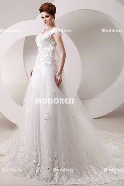 Applique Beaded Wedding Dresses Cap Sleeve A-Line Wedding Dresses White Court Train Wedding Dresses