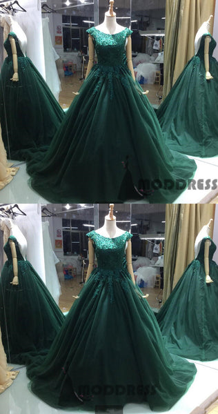 Applique Beading Long Prom Dresses Backless Ball Gowns Tulle Evening Formal Dresses,HS690
