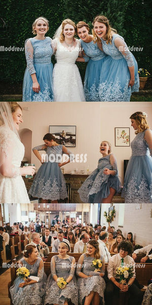 Applique Bridesmaid Dresses Knee Length Short Bridesmaid Dresses Scoop Bridesmaid Dresses,HS936
