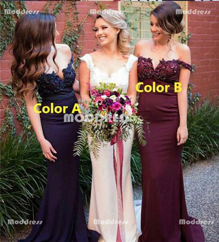 Applique Bridesmaid Dresses Mermaid Long Bridesmaid Dresses Off the Shoulder Bridesmaid Dresses
