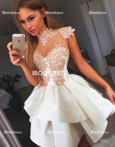 Applique Homecoming Dresses High Neck Short Prom Dresses,HS923