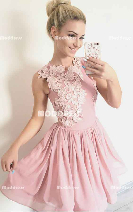 Applique Homecoming Dresses Pink Short Prom Dresses