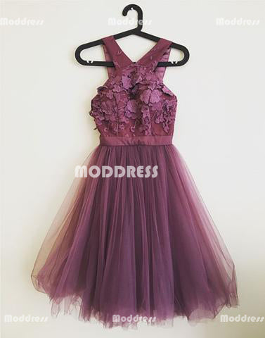 Applique Homecoming Dresses Tulle A-Line Homecoming Dresses