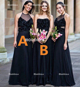 Applique Long Bridesmaid Dresses A-Line Bridesmaid Dresses Black Bridesmaid Dresses