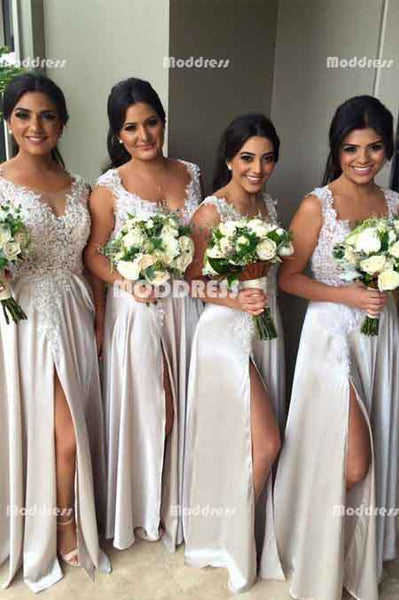 Applique Long Bridesmaid Dresses A-Line Bridesmaid Dresses with High Slit