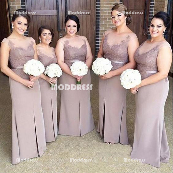 Applique Long Bridesmaid Dresses Applique Bridesmaid Dresses with Slit