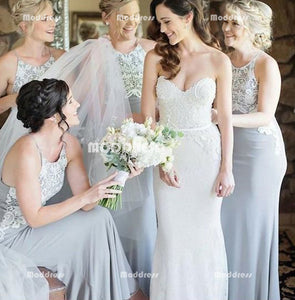 Applique Long Bridesmaid Dresses Spaghetti Straps Bridesmaid Dresses