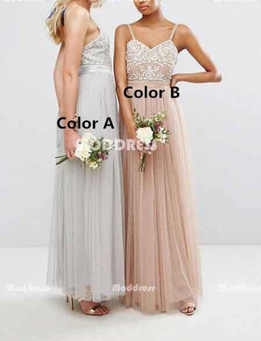 Applique Long Bridesmaid Dresses Tulle A-Line Backless Bridesmaid Dresses