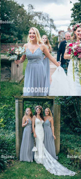 Applique Long Bridesmaid Dresses V-Neck A-Line Bridesmaid Dresses