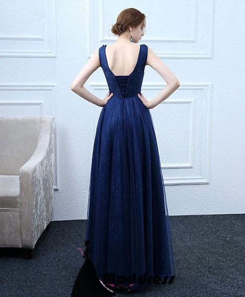 Applique Long Prom Dress Scoop A-Line Evening Dress Tulle Formal Dress,HS505